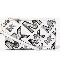 mk portafoglio per smartphone adele in pelle con logo in rilievo - nero/bianco (nero) - michael kors