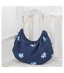 tie-dyed cotton hobo handbag, 'indigo butterfly world' (el salvador)