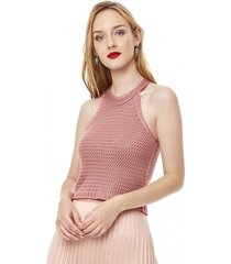 top crochet halter mujer rosa corona
