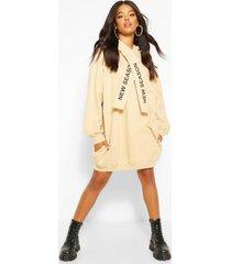 tape sweatshirt jurk met tekst en capuchon, kameel