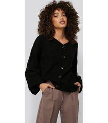 na-kd trend short chunky knit cardigan - black