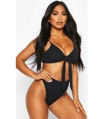 crinkle tie front high waist bikini, black