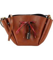 valentino garavani women's medium leather bucket bag - tan
