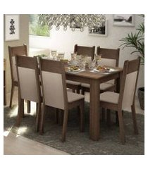 conjunto sala de jantar madesa jaíne mesa tampo de madeira com 6 cadeiras rustic/crema/pérola rustic/crema/pérola