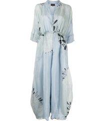 giorgio armani oversize floral-print silk jumpsuit - blue
