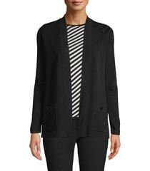 women's anne klein malibu open front cardigan, size medium - black