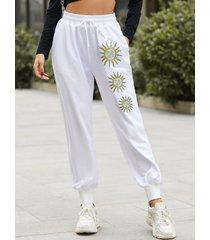 pantalones de cintura con cordón con bolsillos laterales galaxy yoins