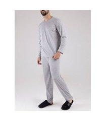 pijama longo masculino cinza