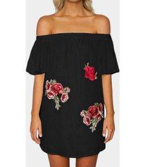 black embroidered off the shoulder mini dress