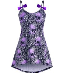 bowknot high low skull floral halloween plus size cami top