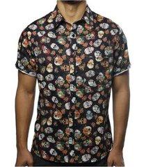 camisa camaleão urbano caveiras floral masculina