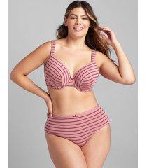 lane bryant women's cotton lightly lined full coverage bra 44dd rose stripes