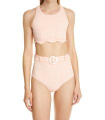 women's lisa marie fernandez scallop high waist two-piece swimsuit, size 4 - coral