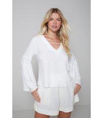 blusas e camisas oh, boy! blusa decote v manga longa off-white