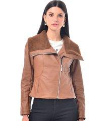 chaqueta para mujer en polipiel cafe color café talla xl