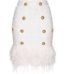 balmain buttoned fringed tweed skirt - white