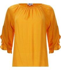 blusa arandelas unicolor color amarillo, talla 10