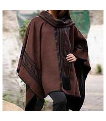 reversible alpaca blend poncho, 'ancient earth' (peru)
