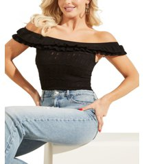 guess nola off-the-shoulder pointelle sweater