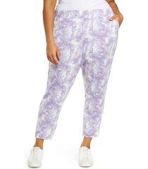 plus size women's bobeau tie dye crop joggers, size 3x - purple