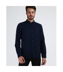 camisa masculina tradicional com bolso manga longa azul marinho