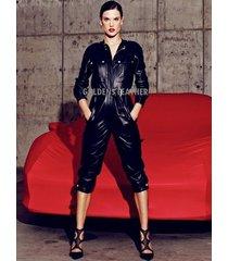 women pure leather jumpsuit genuine lambskin catsuit romper all color tailor-201