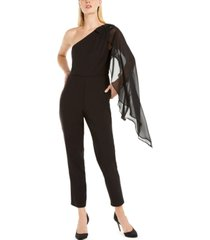 adrianna papell one-shoulder draped jumpsuit