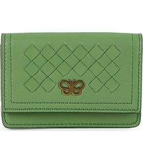 bottega veneta women's intrecciato leather bi-fold wallet - green