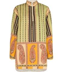 etro printed reversible tunic dress - green