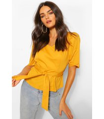 cotton poplin square neck blouse, mustard