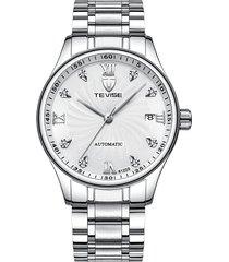 hoja de acero automática para hombres con reloj-blanco