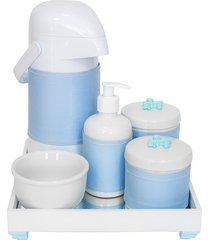 kit higiene espelho completo porcelanas, garrafa e capa flor de liz azul quarto bebê menino