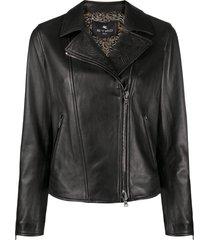 etro embossed biker jacket - black