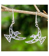 open work sterling silver earrings, 'fly me away' (thailand)