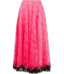 neon pink lace midi skirt