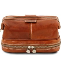 tuscany leather tl141717 patrick - beauty case in pelle miele