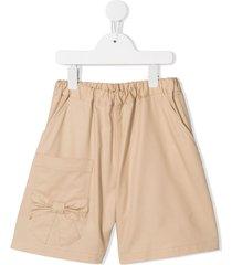 familiar bow detail shorts - brown