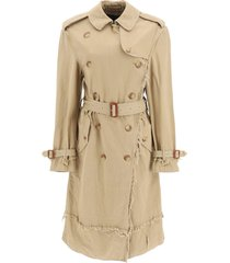 r13 shredded trench coat with frayed edges