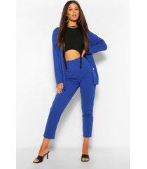 blazer met dubbele knopen & pantalon set, blauw