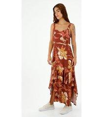 vestido de mujer, diseño maxi con cuello en v de tiras, con estampado floral