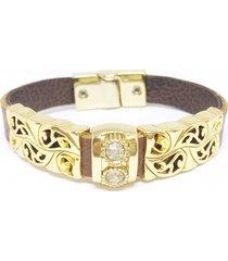 pulseira couro alice monteiro arabescos caramelo. - tricae