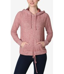 ultra flirt juniors' faux-sherpa tie-bottom hooded sweatshirt