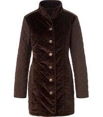 lange jas met licht gewatteerd sandwichstiksel van peter hahn bruin