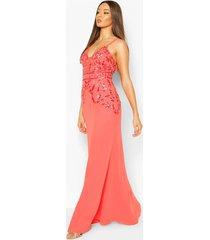 met de hand verfraaide maxi-jurk met mesh inzet voor speciale gelegenheden, koraal