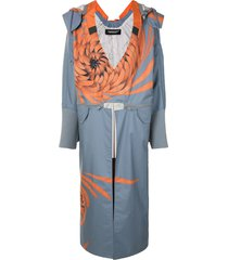 undercover convertible floral-print hooded coat - blue