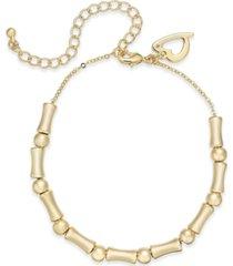 thalia sodi gold-tone bamboo beaded ankle bracelet, created for macy's