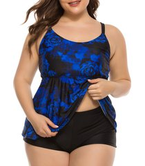 plus size floral print open back skirted tankini swimwear