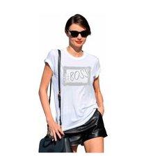 t-shirt feminina blusa estampada edius boss