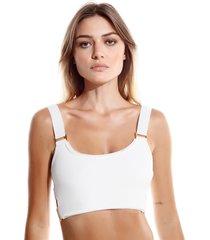 top rosa chá fi beachwear off white feminino (off white, g)