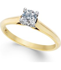 certified diamond solitaire engagement ring in 18k yellow gold with 18k white gold (1/3 ct. t.w.)